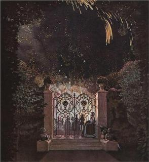 Fireworks in the Park by Konstantin Somov--image from wikipaintings.org